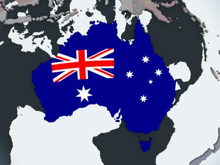 Australia on political globe with embedded flag. 3D illustration.