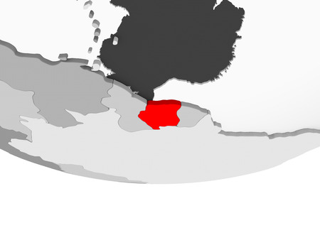 Suriname in red on grey political globe with transparent oceans. 3D illustration.