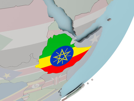 3D render of Ethiopia on political globe with embedded flag. 3D illustration.