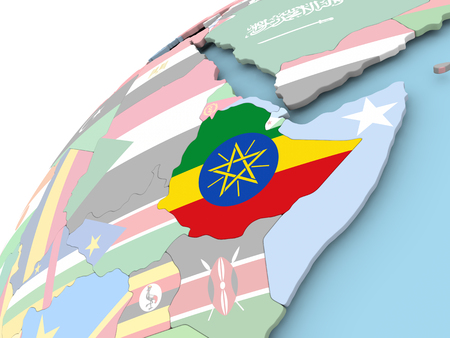 Map of Ethiopia on political globe with embedded flag. 3D illustration.