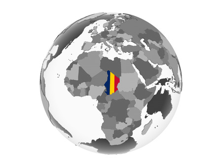 Chad on gray political globe with embedded flag. 3D illustration isolated on white background.