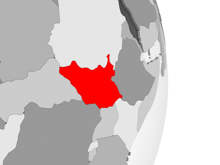 South Sudan highlighted in red on grey political globe with transparent oceans. 3D illustration.