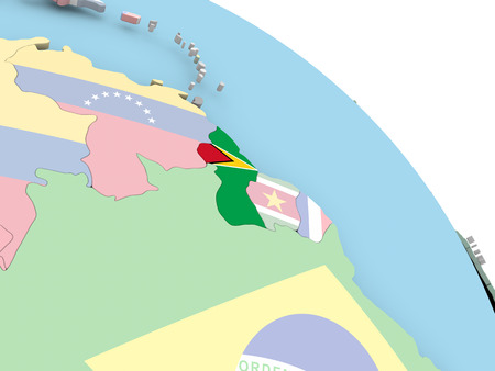 3D render of Guyana with flag on bright globe. 3D illustration.