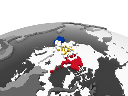 Philippines on gray political globe with embedded flag. 3D illustration.