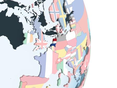 Netherlands on bright political globe with embedded flag. 3D illustration. Foto de archivo