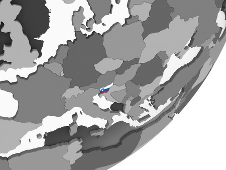 Slovenia on gray political globe with embedded flag. 3D illustration. Stock Photo