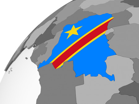 Democratic Republic of Congo on gray political globe with embedded flag. 3D illustration.