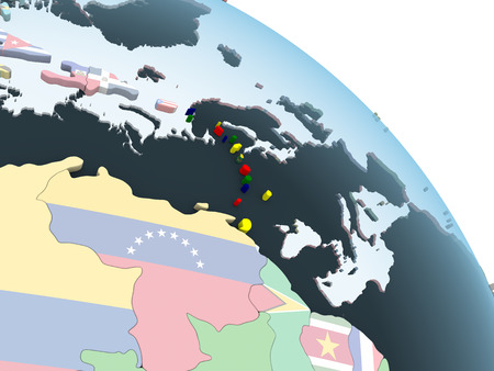 Caribbean on bright political globe with embedded flag. 3D illustration.