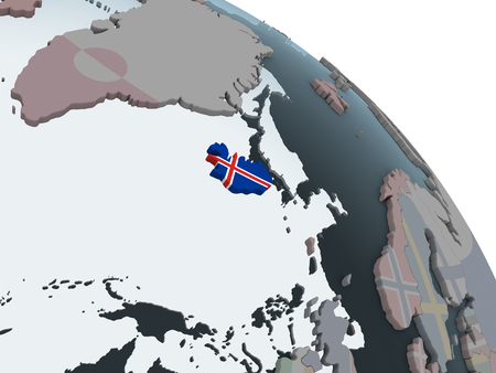 Iceland on political globe with embedded flag. 3D illustration.