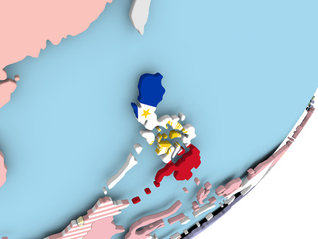 Illustration of Philippines on political globe with embedded flag. 3D illustration.