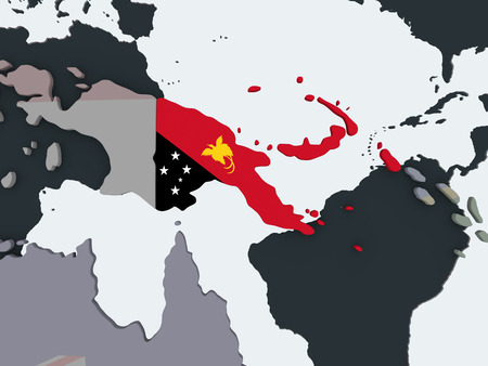 Papua New Guinea on political globe with embedded flag. 3D illustration. Stock Illustration - 109637789