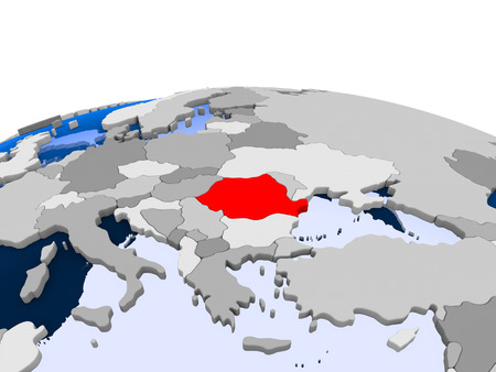 Romania highlighted in red on political globe with transparent oceans. 3D illustration. Imagens