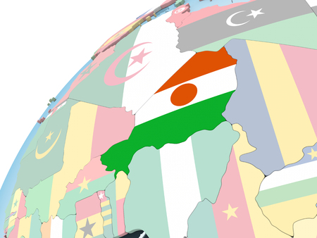 Niger on bright political globe with embedded flag. 3D illustration. Stock Photo
