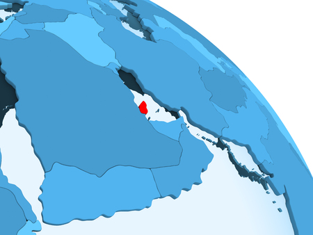 Qatar highlighted on blue 3D model of political globe with transparent oceans. 3D illustration. Stock Photo