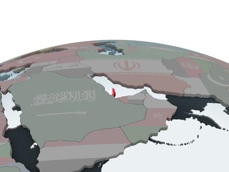 Qatar on political globe with embedded flag. 3D illustration.