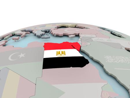 Egypt with national flag on political globe. 3D illustration. Stock Photo