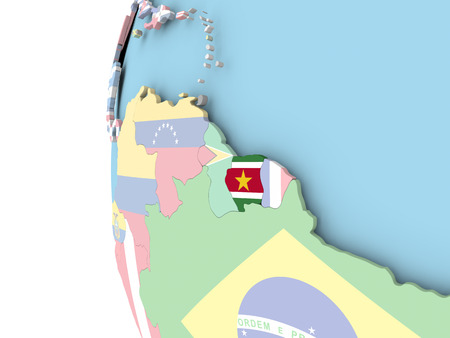 Suriname on political globe with flag. 3D illustration. Stockfoto