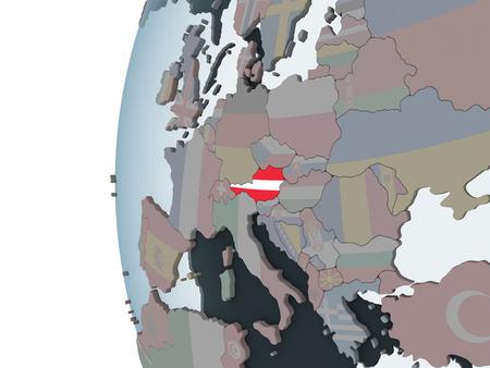 Austria on political globe with embedded flag. 3D illustration. Standard-Bild - 109161644