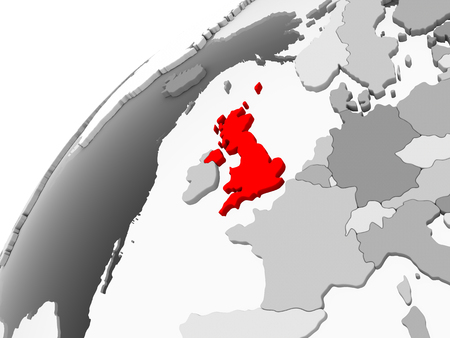 Map of United Kingdom in red on grey political globe with transparent oceans. 3D illustration.