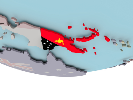 3D illustration of Papua New Guinea with embedded flag on political globe. 3D render. Stock Photo