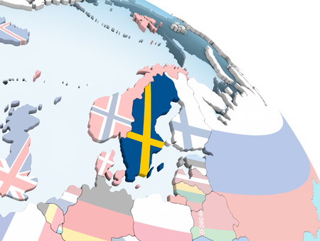 Sweden on bright political globe with embedded flag. 3D illustration. Stockfoto