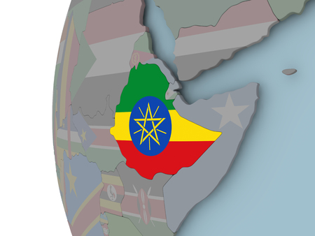 Ethiopia with embedded flag on political globe. 3D illustration. Stock Photo