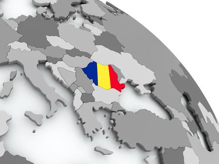 Romania on globe with flag. 3D illustration.