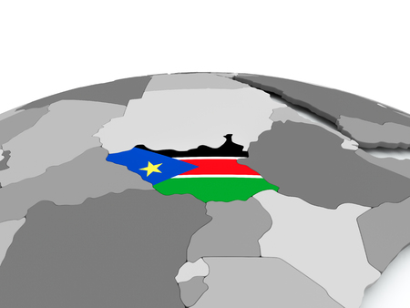 South Sudan on grey political globe with embedded flag. 3D illustration.