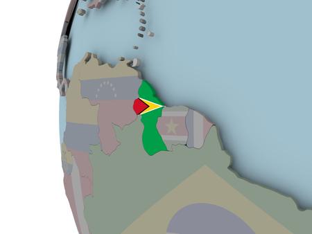 Guyana with embedded flag on political globe. 3D illustration. Stock Photo