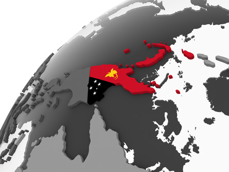 Papua New Guinea on gray political globe with embedded flag. 3D illustration. Stock Illustration - 109160486