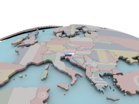 Slovenia with national flag on political globe. 3D illustration.