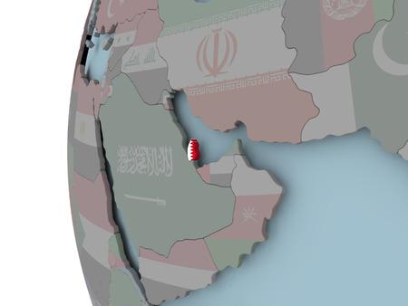 Qatar with embedded flag on political globe. 3D illustration. Stock Photo