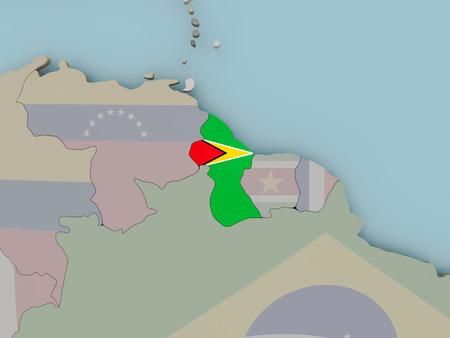 Guyana with national flag on political globe. 3D illustration.