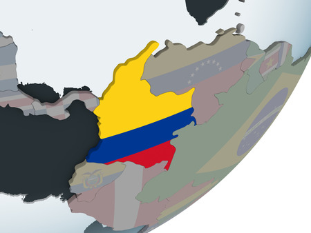 Colombia on political globe with embedded flag. 3D illustration. Reklamní fotografie - 109566300