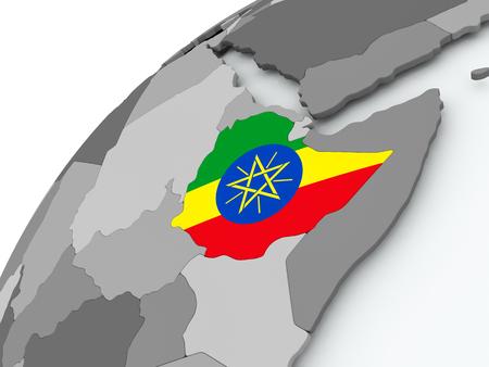 Ethiopia with embedded flag on globe. 3D illustration.