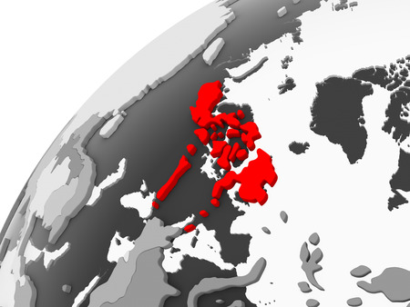 Map of Philippines in red on grey political globe with transparent oceans. 3D illustration.