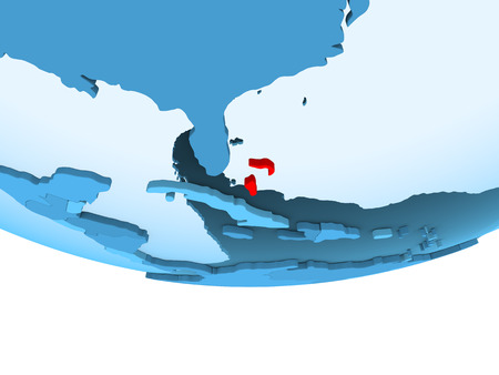 Illustration of Bahamas highlighted in red on blue globe with transparent oceans. 3D illustration. Stock Photo