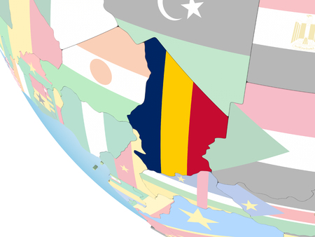 Chad on bright political globe with embedded flag. 3D illustration.