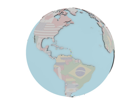 Caribbean on political globe with embedded flags. 3D illustration isolated on white background.