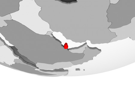 Qatar in red on grey political globe with transparent oceans. 3D illustration. Stock Photo