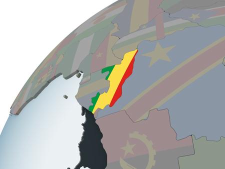Congo on political globe with embedded flag. 3D illustration. Standard-Bild - 109492509