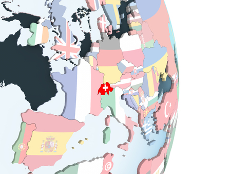 Switzerland on bright political globe with embedded flag. 3D illustration. Banque d'images - 109488691