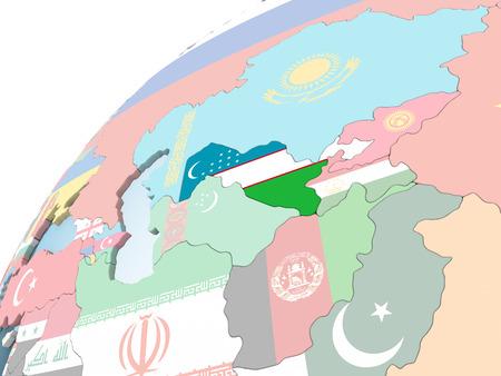 Uzbekistan on bright political globe with embedded flag. 3D illustration.