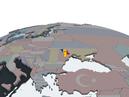 Moldova on political globe with embedded flag. 3D illustration.
