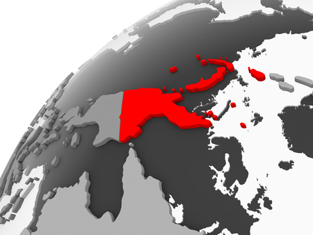 Map of Papua New Guinea in red on grey political globe with transparent oceans. 3D illustration.