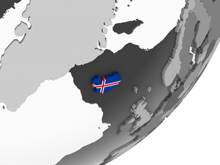 Iceland on gray political globe with embedded flag. 3D illustration.
