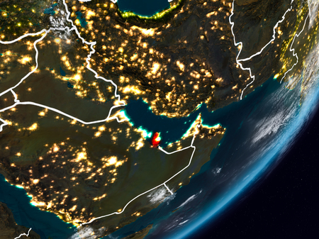 Qatar from space on planet Earth at night with visible country borders. 3D illustration.