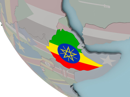 Map of Ethiopia on political globe with embedded flags. 3D illustration.
