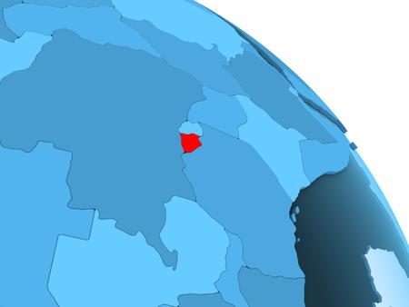 Burundi highlighted on blue 3D model of political globe with transparent oceans. 3D illustration.