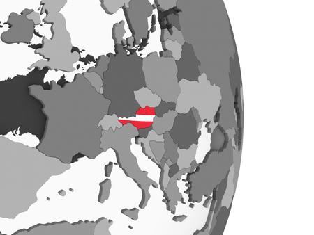 Austria on gray political globe with embedded flag. 3D illustration. Standard-Bild - 109343118